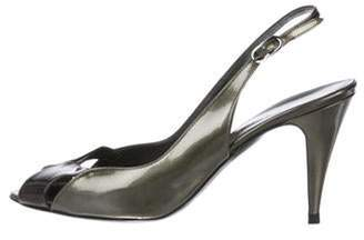 Chanel Patent Leather Peep-Toe Pumps Olive Patent Leather Peep-Toe Pumps
