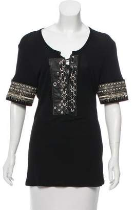 Jean Paul Gaultier Leather-Accented Embellished Top