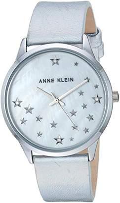 Anne Klein Women's AK/3247MPSI Swarovski Crystal Accented -Tone Leather Strap Watch