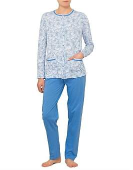 Linclalor Long Sleeve Large Floral Button Up Pyjama Set With Pockets