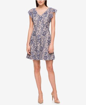 Jessica Simpson Ruffle-Sleeve Denim Lace Fit & Flare Dress $98 thestylecure.com