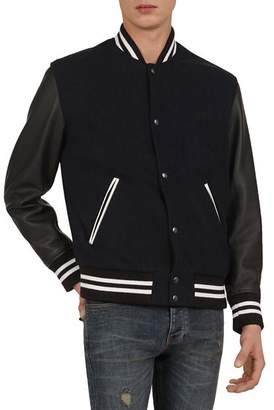 The Kooples Falcone Leather Sleeve Varsity Jacket