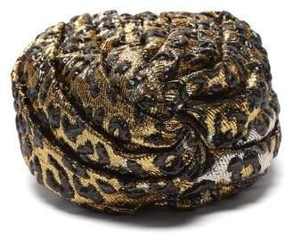 Gucci Leopard Print Turban Headband - Womens - Gold
