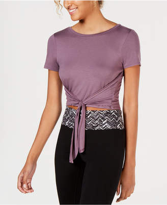 Material Girl Active Juniors' Tie-Front Cropped T-Shirt