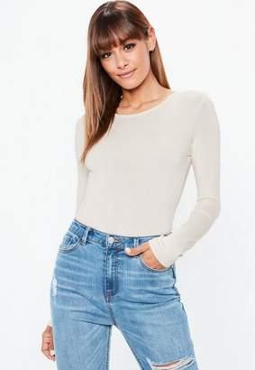 Missguided Nude Long Sleeved Crew Neck Bodysuit