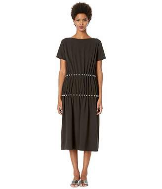 Moschino Short Sleeve Jewel Pleated Dress