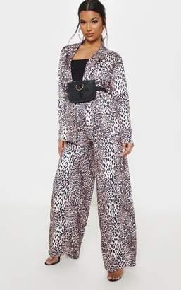 PrettyLittleThing Tan Leopard Wide Leg Trouser