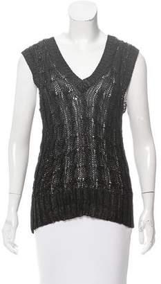 Oscar de la Renta Silk Cable Knit Sweater