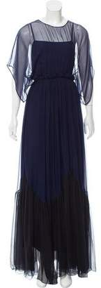 No.21 No. 21 Pleat-Accented Sheer Silk Dress w/ Tags