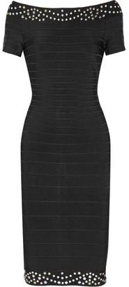 Hervé Léger - Karlee Off-the-shoulder Embellished Bandage Dress - Black $1,490 thestylecure.com