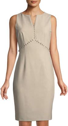 Tahari ASL Fonda Twill V-Neck Dress with Button Detail