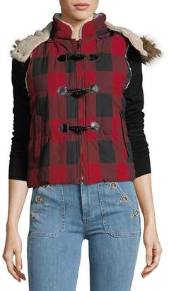 Saks Fifth Avenue Women's Faux Fur-Trimmed Plaid Toggle Cotton Vest