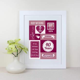 The Joy of Memories Ruby Wedding Anniversary Personalised Print