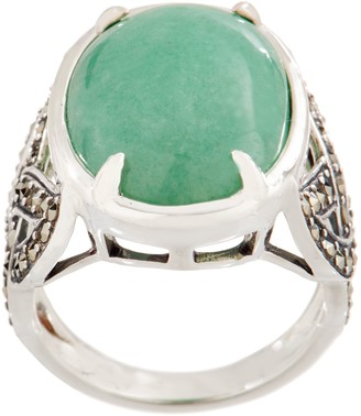 Solvar Sterling Silver Green Aventurine with Marcasite Ring