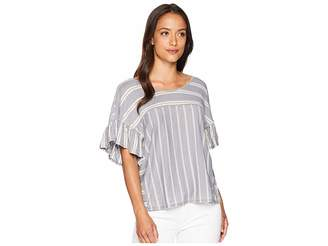 Lucky Brand Mix Stripe Ruffle Tee