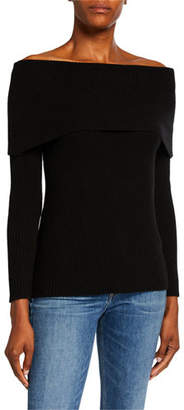 Neiman Marcus Cashmere Off-the-Shoulder Long-Sleeve Sweater
