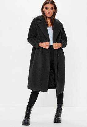 Missguided Tall Black Longline Borg Teddy Coat, Black