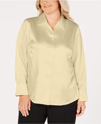 Kasper Plus Size Button-Front Tailored Blouse