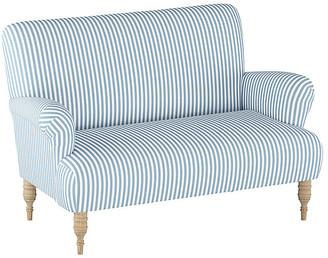 One Kings Lane Nicolette Settee - Blue Stripe Linen
