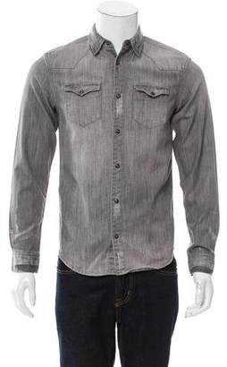AllSaints Distressed Button-Up Shirt