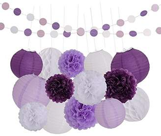 LyButty 16 Pcs Dark purple Lavender White Tissue Paper Pom Poms Flowers Tissue Paper Lanterns Honeycomb Balls Polka Dot Paper Garland Birthday Party Wedding Baby Shower Decorations