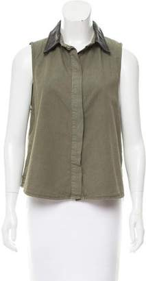 Rag & Bone Leather-Trimmed Sleeveless Top