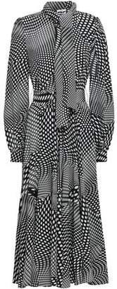 Co Polka-Dot Silk Crepe De Chine Midi Shirt Dress