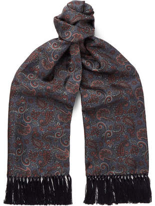 Mulberry Sulka Fringed Paisley-Print Silk-Twill Scarf