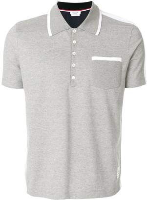 Thom Browne bicolor half-and-half jersey polo