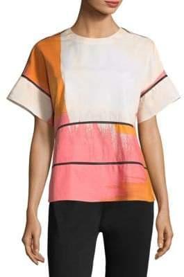 Donna Karan Printed Cotton Top