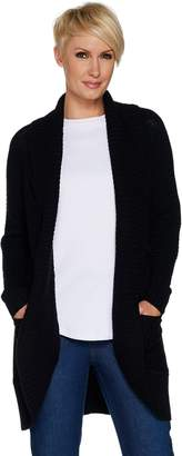 Isaac Mizrahi Live! Mixed Stitch Open Front Shawl Collar Cardigan