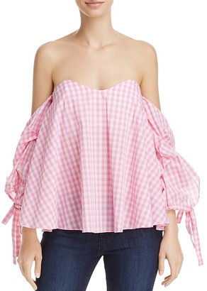 Do and Be Off-the-Shoulder Gingham Top - 100% Exclusive $68 thestylecure.com