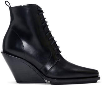 Ann Demeulemeester Black Lace-Up Wedge Boots