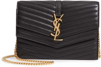 Saint Laurent Sulpice Leather Crossbody Wallet