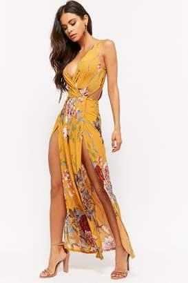 Forever 21 Floral Slub Knit Surplice M-Slit Maxi Dress