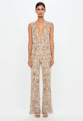 Missguided Nude Embellished Plunge Playsuit