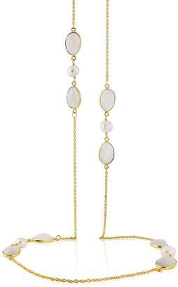Auree Jewellery - Jodhpur Moonstone Pearl and Gold Vermeil Necklace