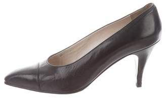 Chanel Pointed Cap-Toe Leather Pumps