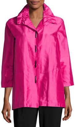 Caroline Rose Shantung Silk Shirt Jacket, Petite