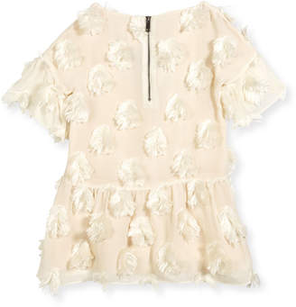 Burberry Anabella Half-Sleeve Faux-Feather Dress, Size 4-14