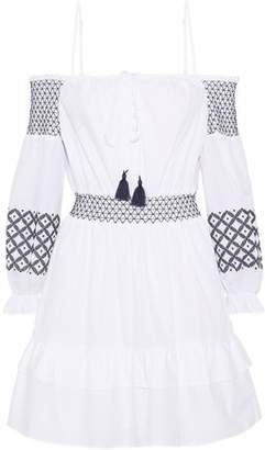 Rebecca Minkoff Brittany Cold-Shoulder Embroidered Cotton-Poplin Mini Dress