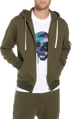 The Kooples Distressed Zip Front Hooded Sweatshirt