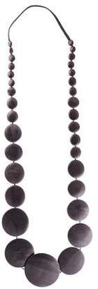 Monies Wood & Leather Long Pebble Necklace