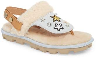 UGG Patch It Slingback Sandal with Genuine Shearling Trim