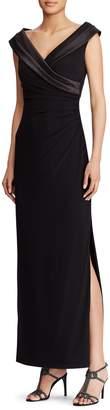Lauren Ralph Lauren Satin-Neckline Column Gown