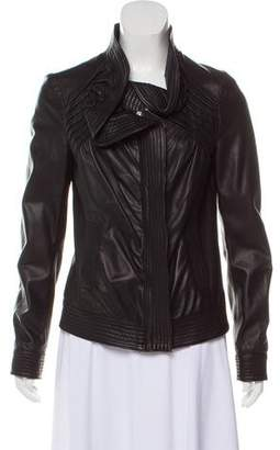 RED Valentino Leather Ruffle Jacket