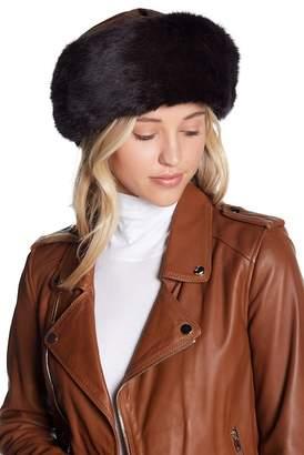 Surell Suede Hat With Genuine Rabbit Fur Trim