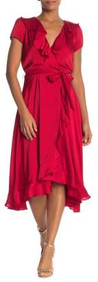 Gabby Skye Short Sleeve Ruffle Wrap Dress