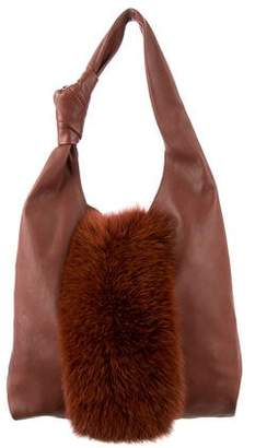 Loeffler Randall Fur-Paneled Hobo Bag