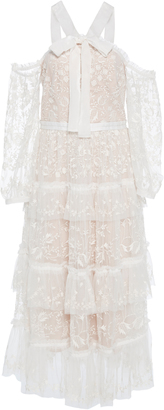 Needle & Thread Primrose Tiered Embroidered Tulle Dress $700 thestylecure.com